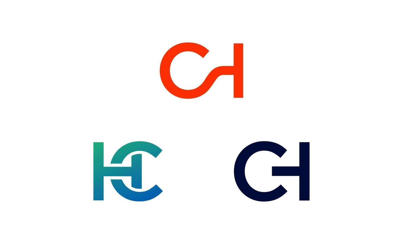 första ch, hc, logo design mall vektor
