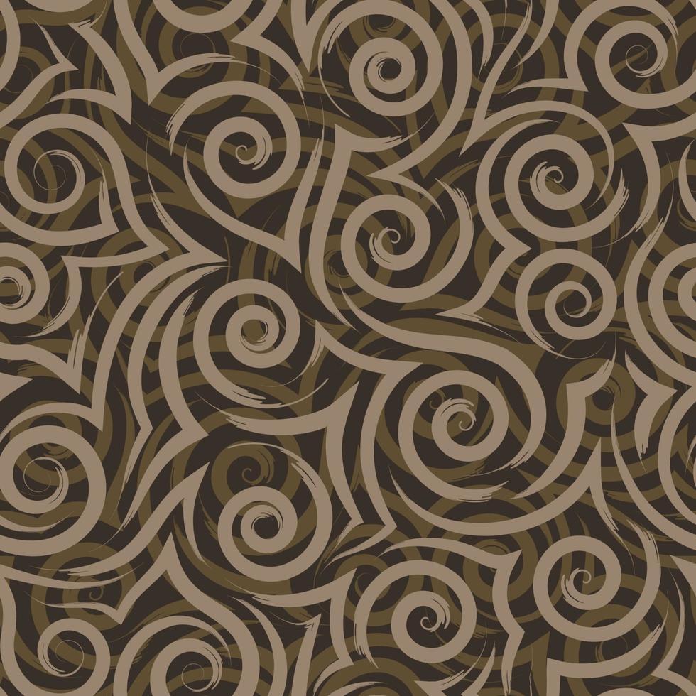 nahtlose Vektorbeschaffenheit der fließenden beige Pinselstriche von Spiralen und Locken auf braunem Hintergrundmeer vektor