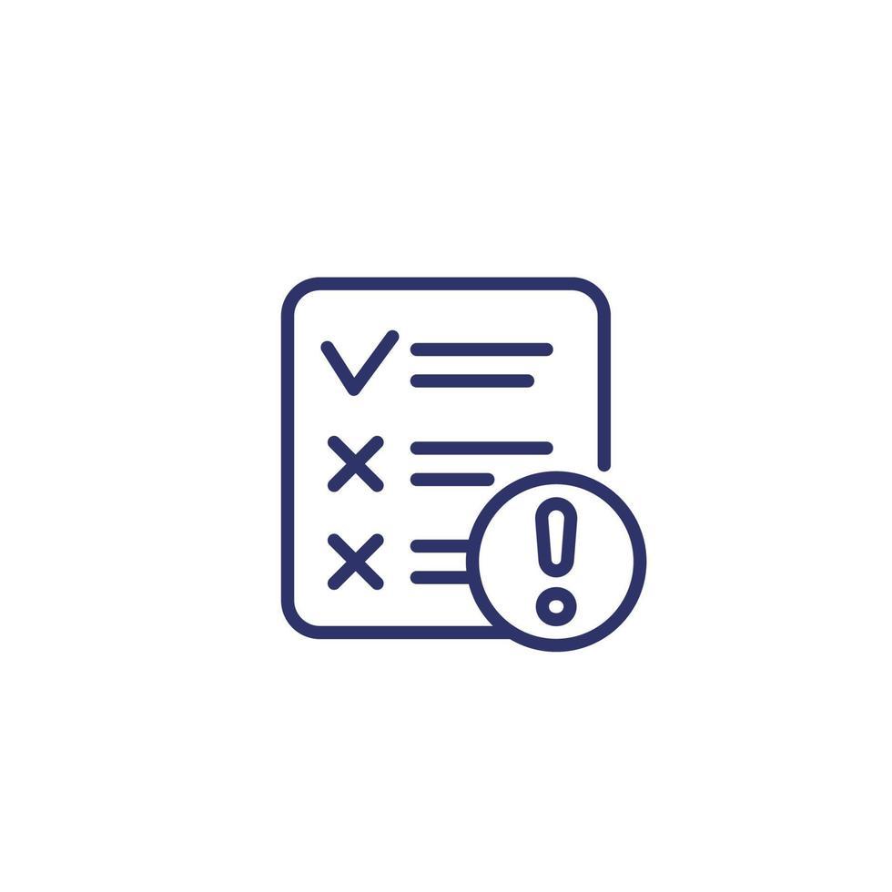 Symbol für fehlgeschlagene Testlinie auf Weiß vektor