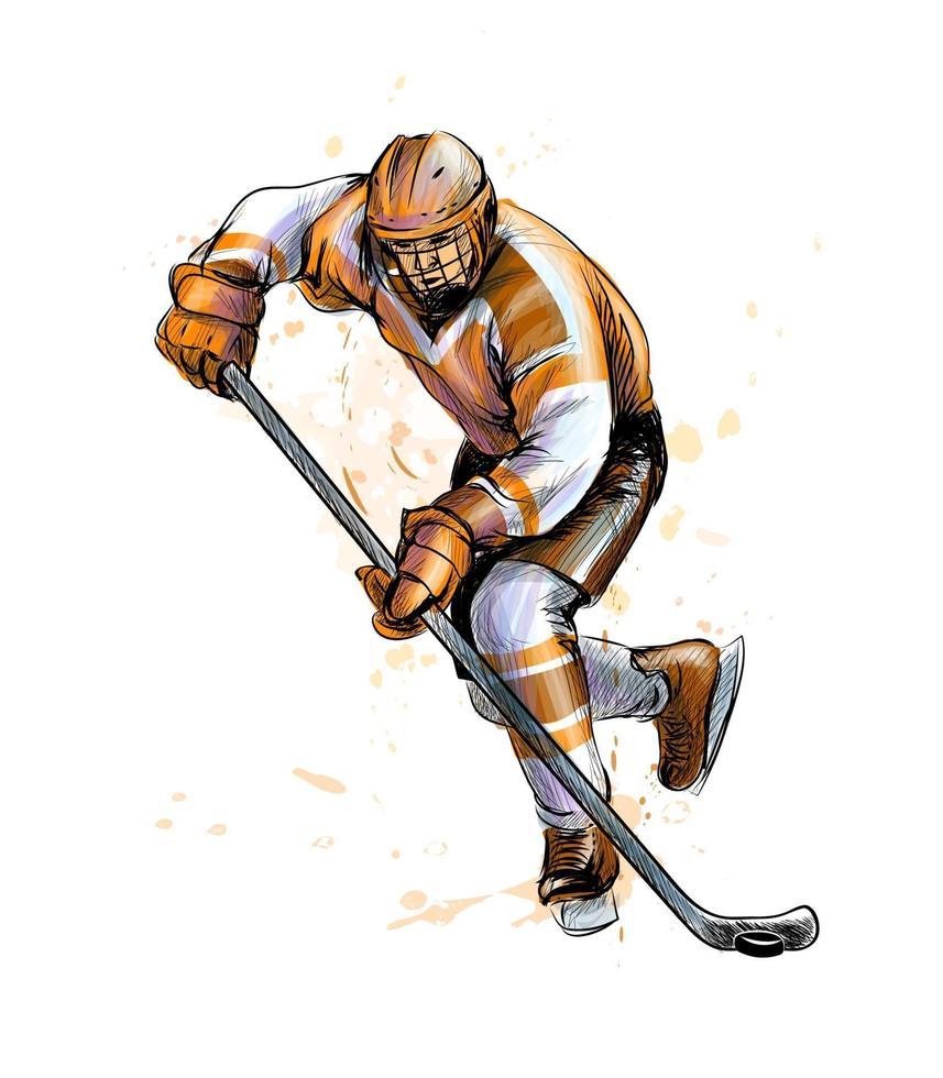 abstrakter Hockeyspieler vom Spritzen der Aquarelle. handgezeichnete Skizze. Wintersport. Vektorillustration von Farben vektor