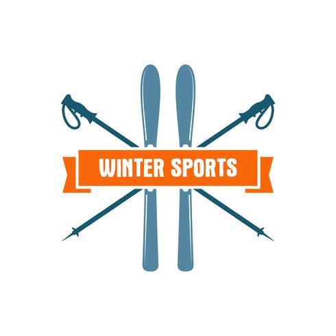 Vintersports etikett. Vintage Mountain Explorer. Utomhus äventyr logotyp design. Travel handdragen och hipster färg insignier. Ski och snowboard ikon symbol. Camping emblem. Vildmarkvektor vektor