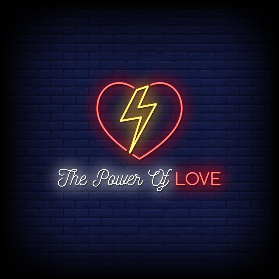 kraften i kärlek neonskyltar stil text vektor