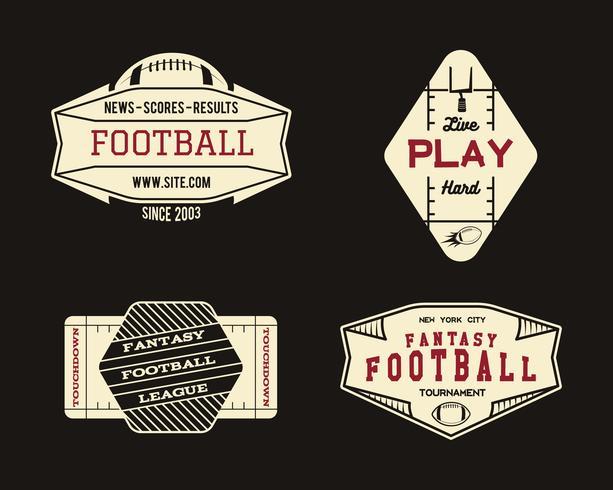 Amerikansk fotbollsplan geometriska lag eller liga emblem, sport webbplats logo, etikett, insignia uppsättning. Grafisk vintage design för t-shirt, web. Färgglatt tryck isolerat på en mörk bakgrund. Vektor