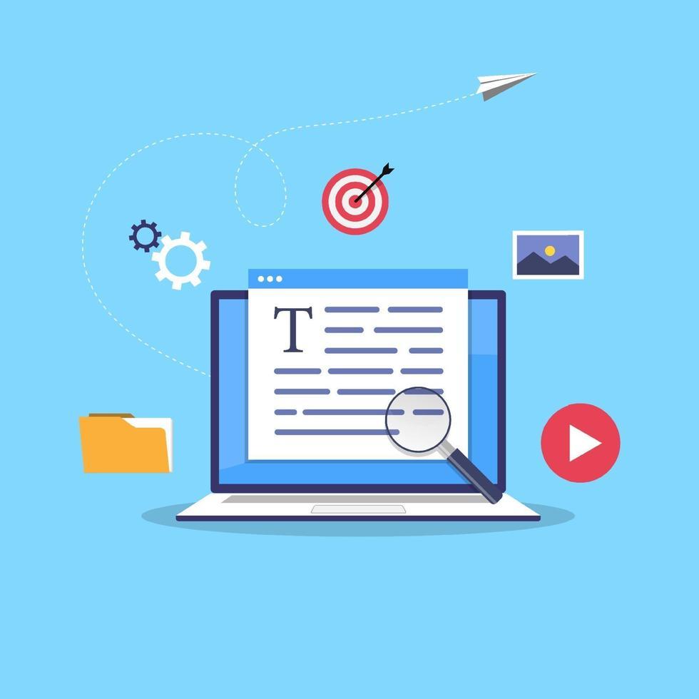affärsblogging koncept. kommersiell blogginlägg, internetbloggtjänst platt design vektorillustration. vektor