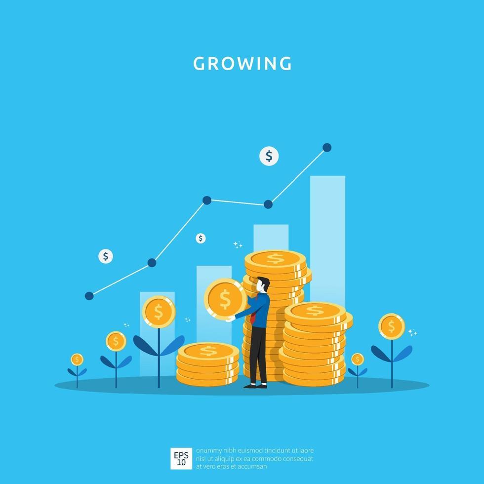 affärstillväxtillustration för smarta investeringskoncept. vinstprestanda eller inkomst med högmynt symbol för avkastning på investering roi vektor