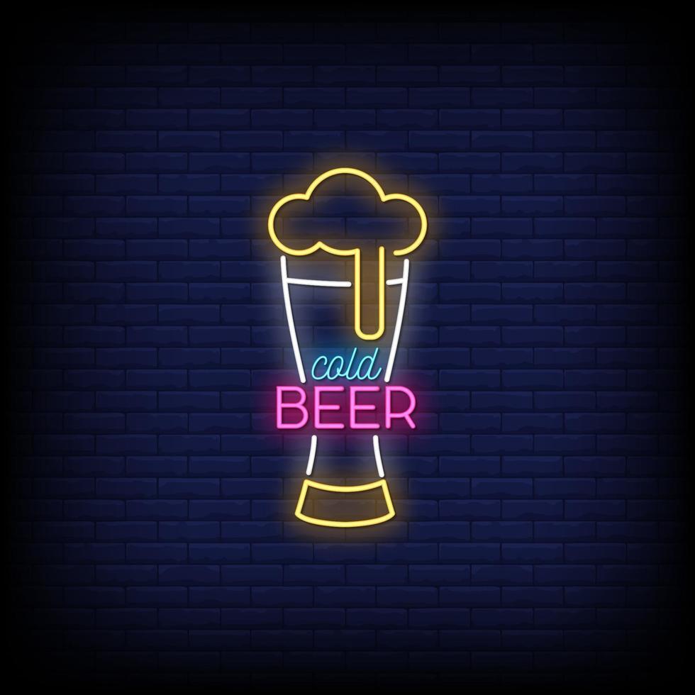 kall öl neon skyltar stil text vektor