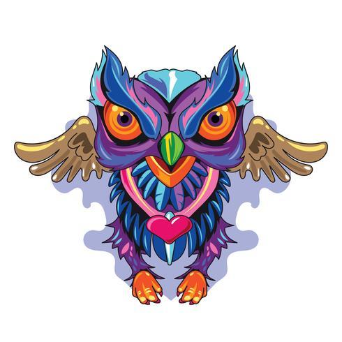 Illustrations-Eulen-Fulcolor neues Skool Tätowierungs-Konzept vektor