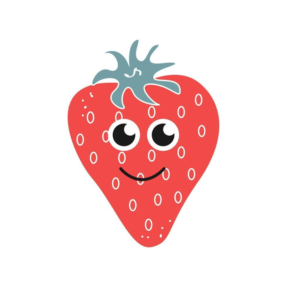 Karikaturerdbeere mit einem Lächeln auf einem weißen Hintergrund, Symbol. Vektorbild lokalisiert auf einem weißen Hintergrund vektor
