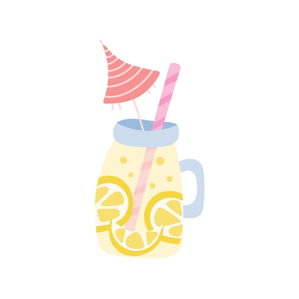 Limonade in einem Glas mit einem Strohhalm und einem Regenschirm auf einem weißen Hintergrund. Vektorillustration, Symbol vektor