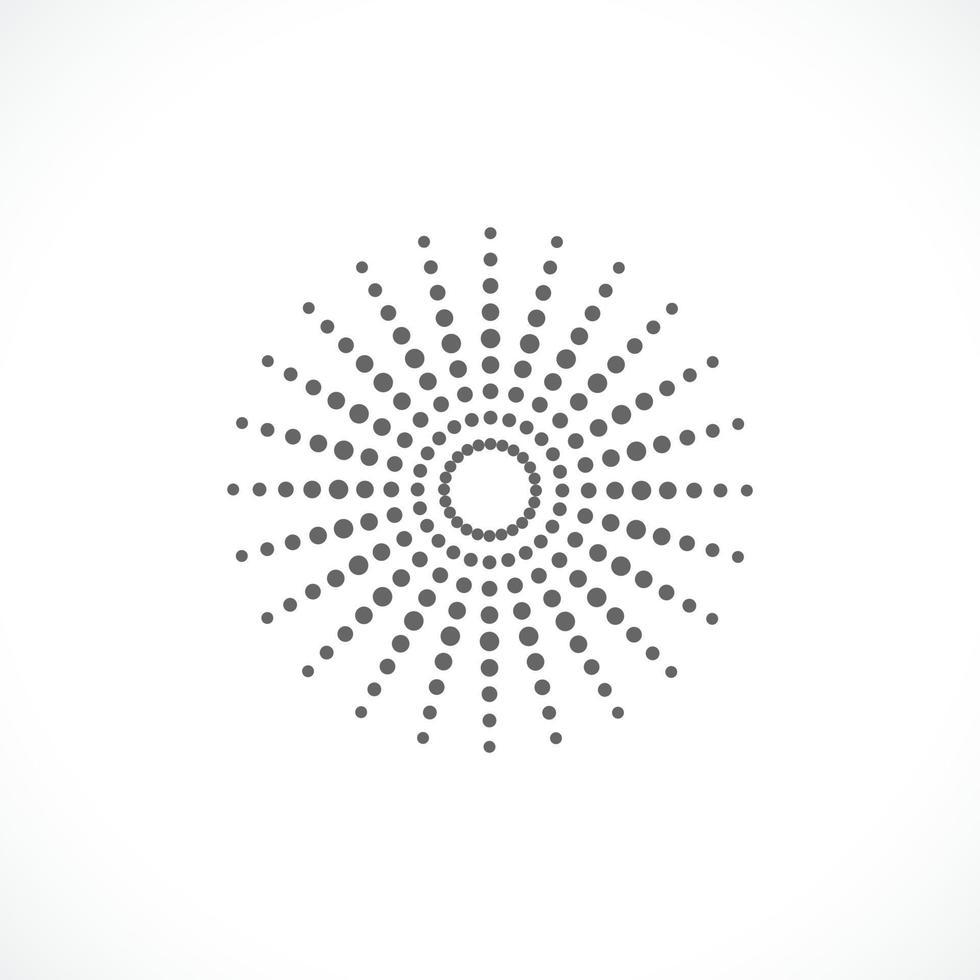 schwarzer abstrakter Vektor Kreisrahmen Halbton Punkte Logo Emblem Design. rundes Rahmensymbol unter Verwendung der Kreispunkttextur.vektorillustration eps 10