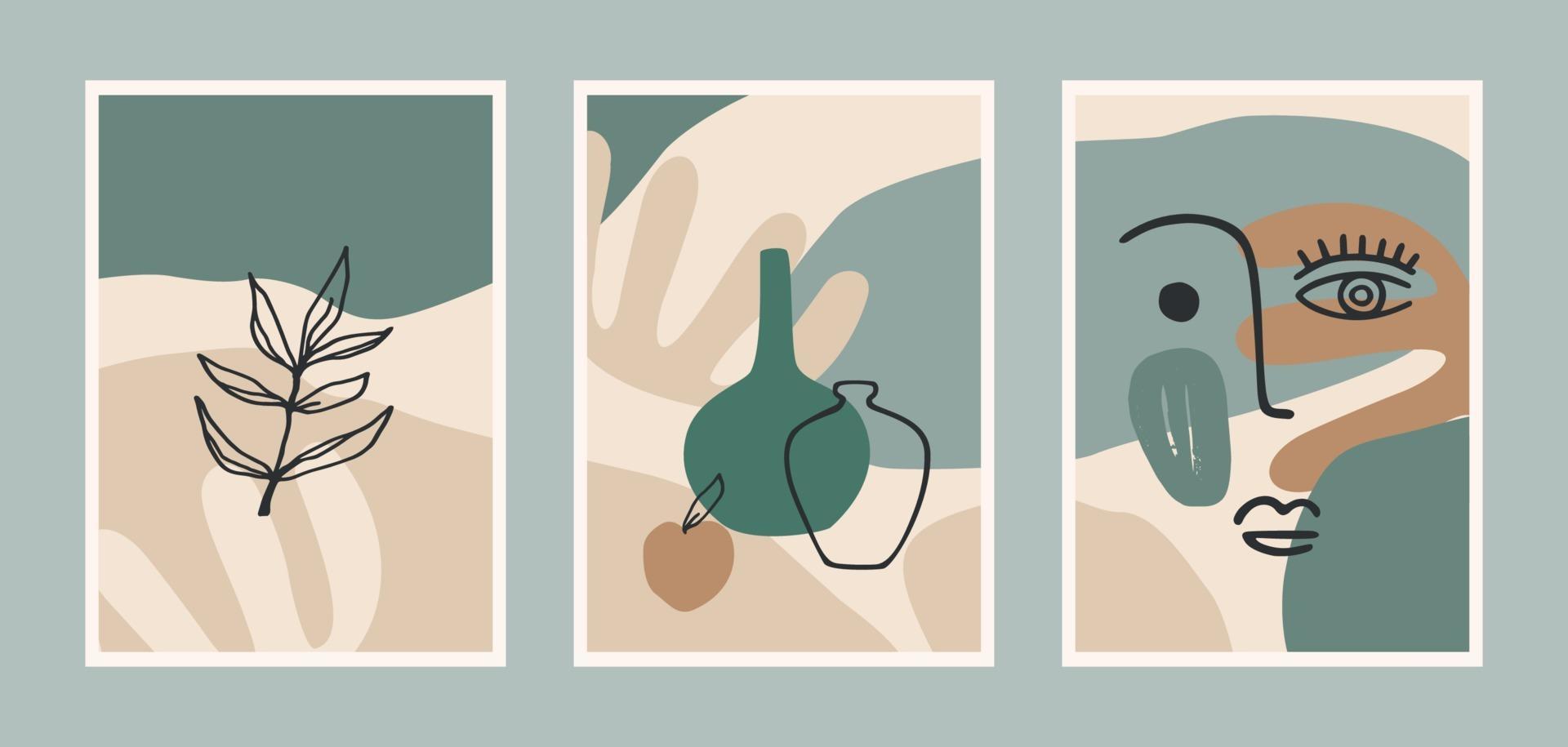 Satz zeitgenössischer Kunstdrucke. Strichzeichnungen. modernes Vektordesign für Plakate, Karten, Verpackungen und mehr vektor