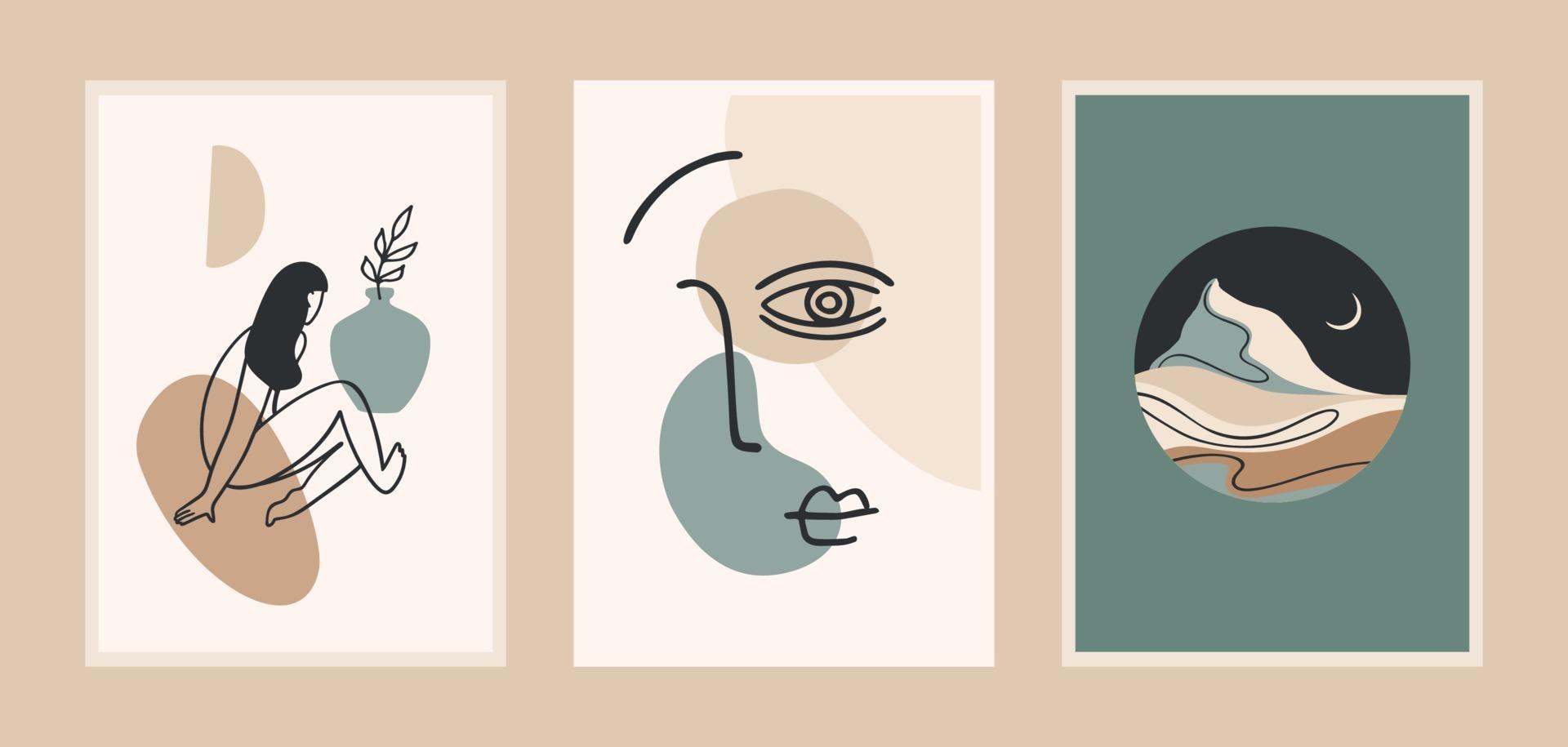 uppsättning samtida konsttryck. linjekonst. modern vektordesign för affischer, kort, förpackningar och mer vektor