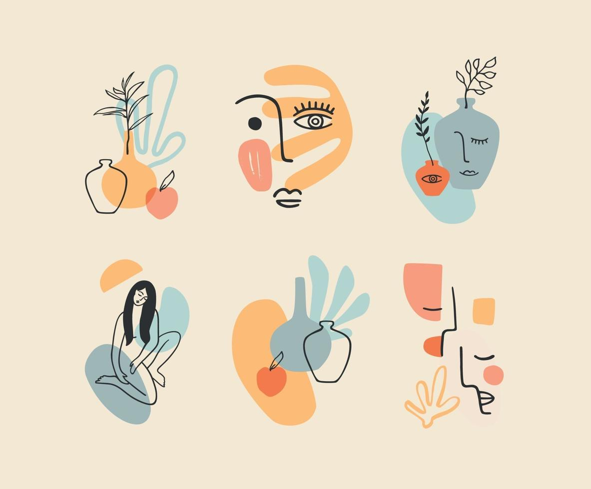 Reihe zeitgenössischer Kompositionen. Strichzeichnungen. modernes Vektordesign für Logo, Branding, T-Shirt, Poster, Karten und mehr vektor