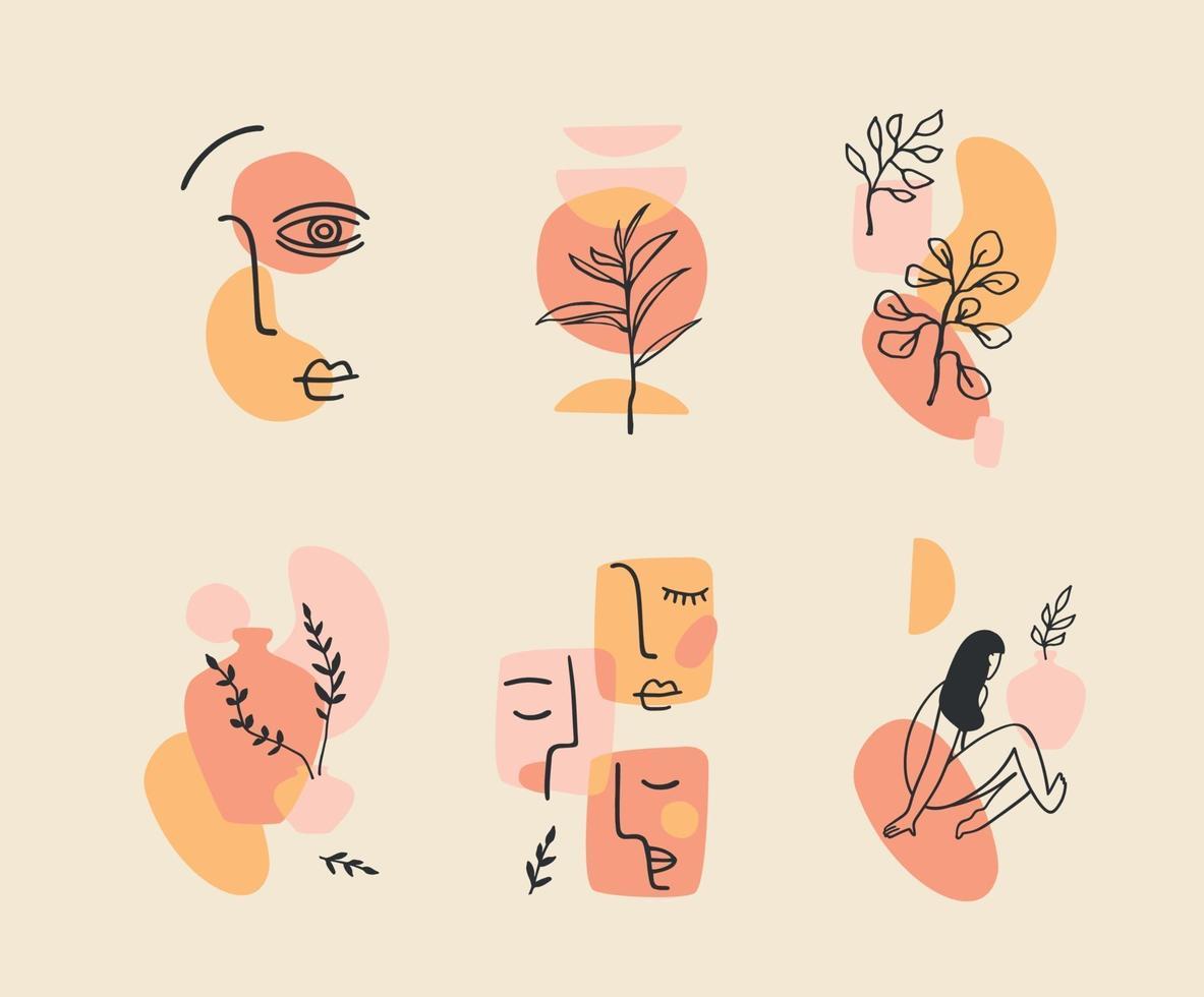 uppsättning samtida kompositioner. linjekonst. modern vektordesign för logotyp, branding, t-shirt, affischer, kort och mer vektor