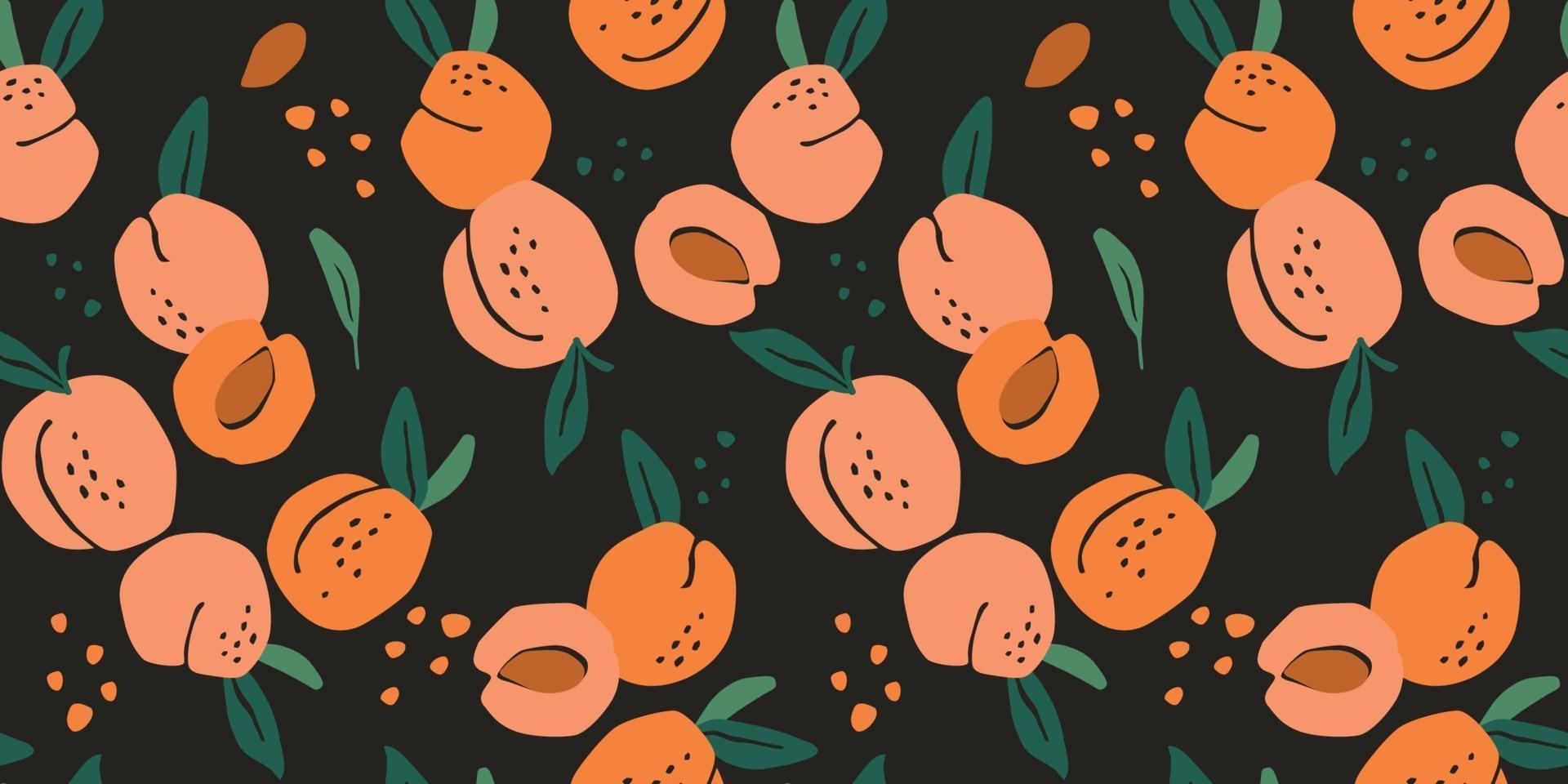 vektor sömlösa mönster med persikor. trendiga handritade texturer. modern abstrakt design