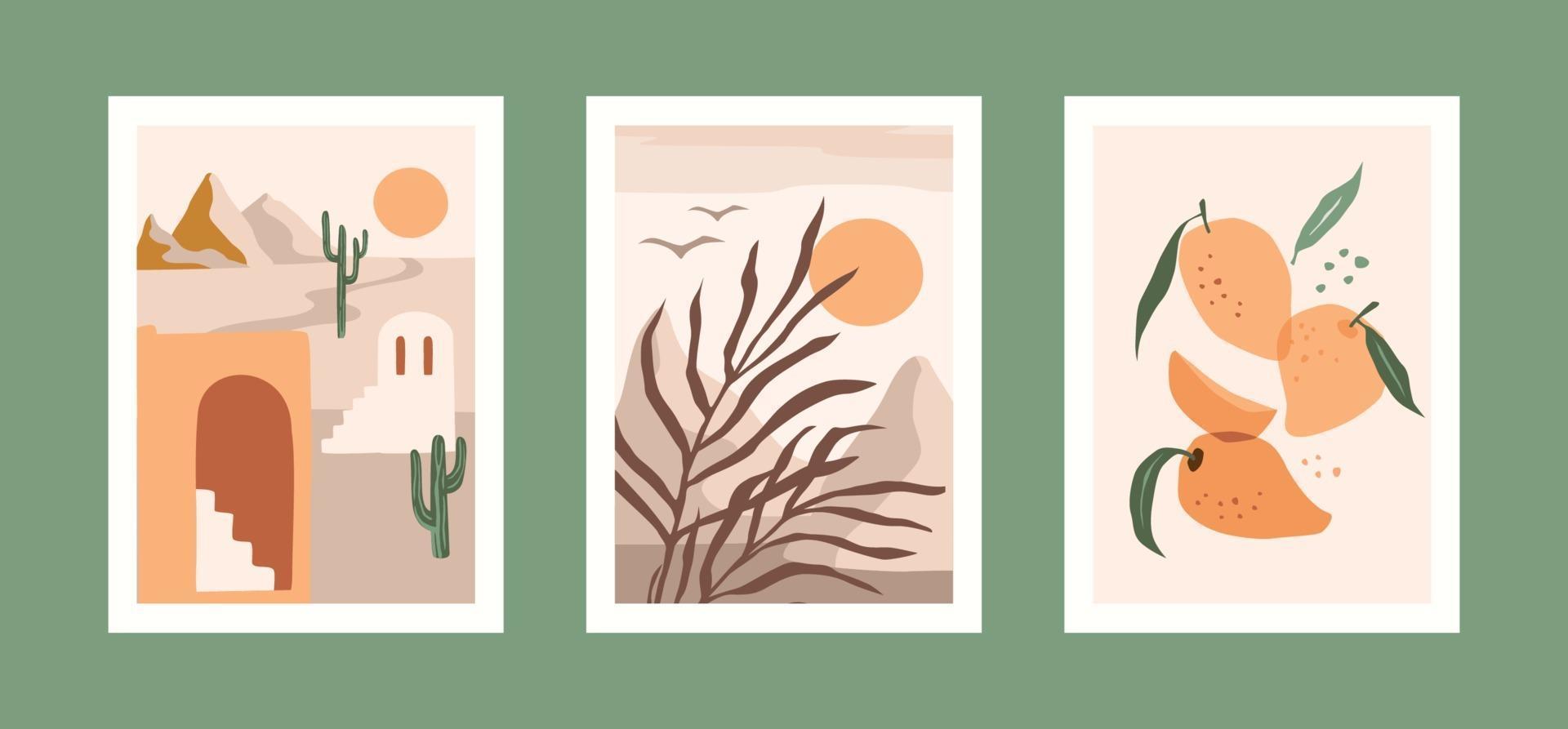 Sammlung zeitgenössischer Kunstdrucke. modernes Vektordesign für Wandkunst, Plakate, Karten, T-Shirts und mehr vektor