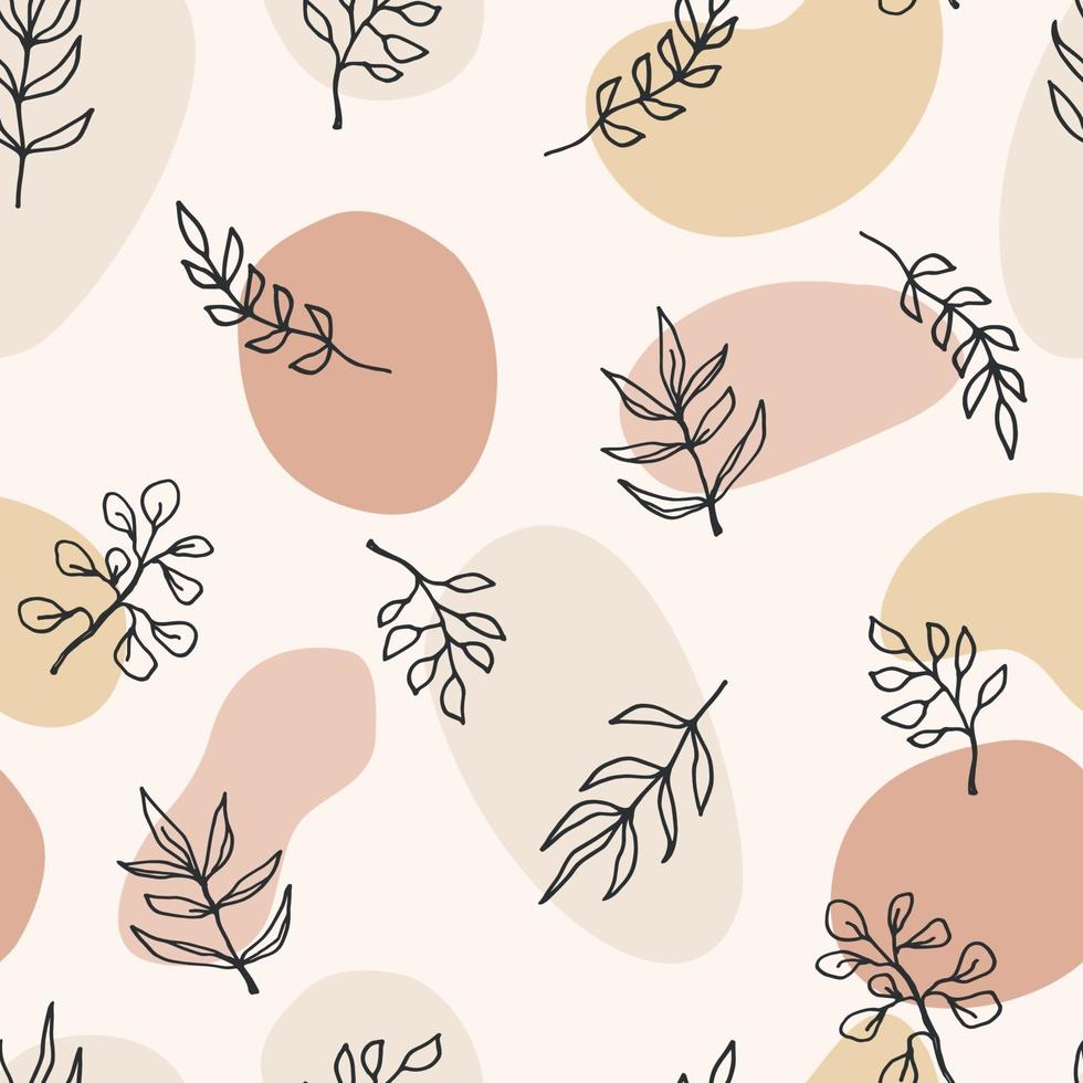 nahtloses Muster der zeitgenössischen Kunst mit Zweigen, Blättern, Pflanzen. Strichzeichnungen. modernes Design vektor