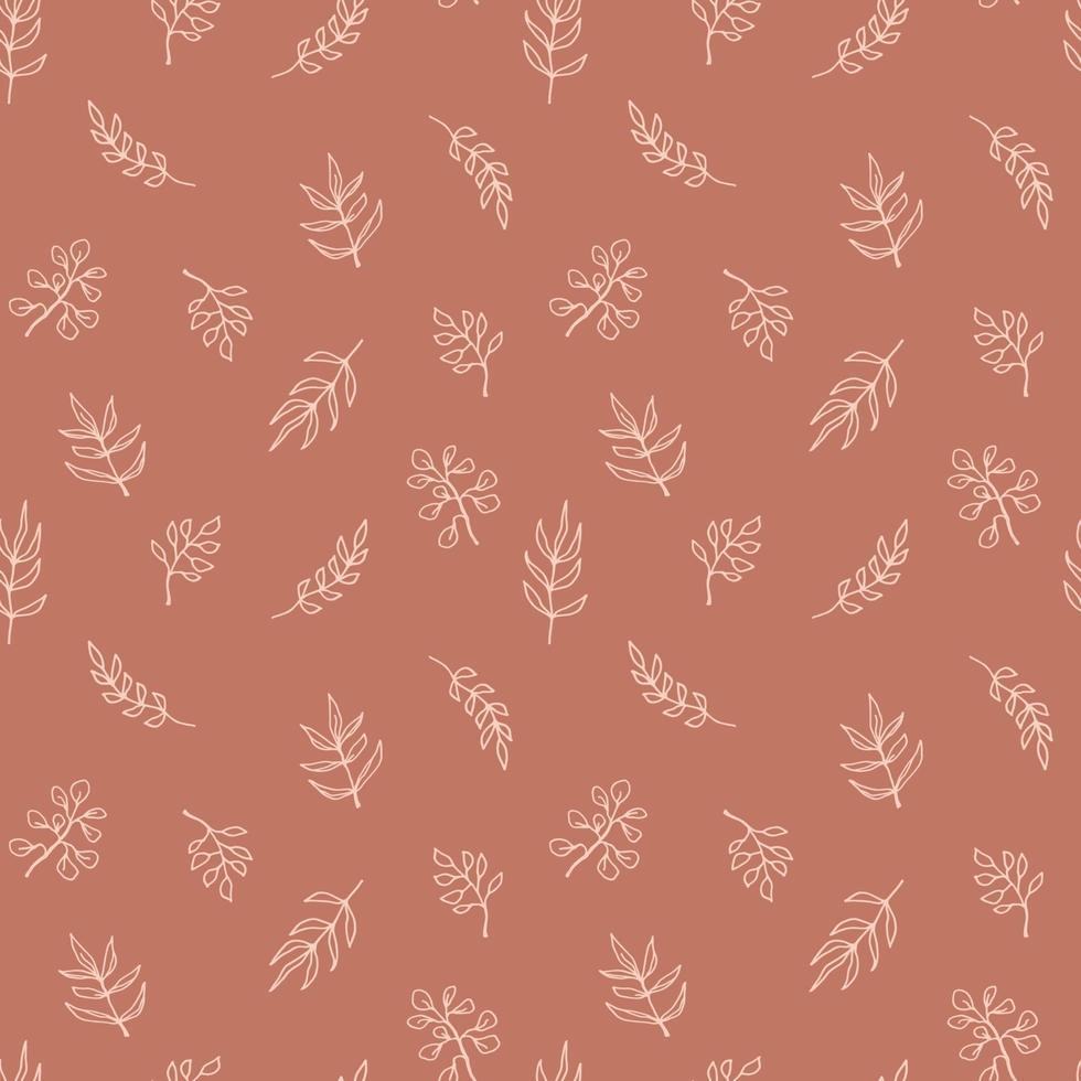 sömlösa mönster för samtida konst med grenar, löv, växter. linjekonst. modern design vektor