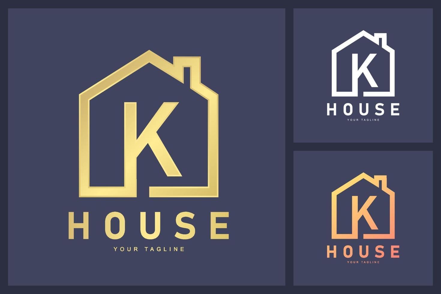 kombination av bokstaven k logotyp och hussymbol. bostäder och butik logotyp koncept vektor