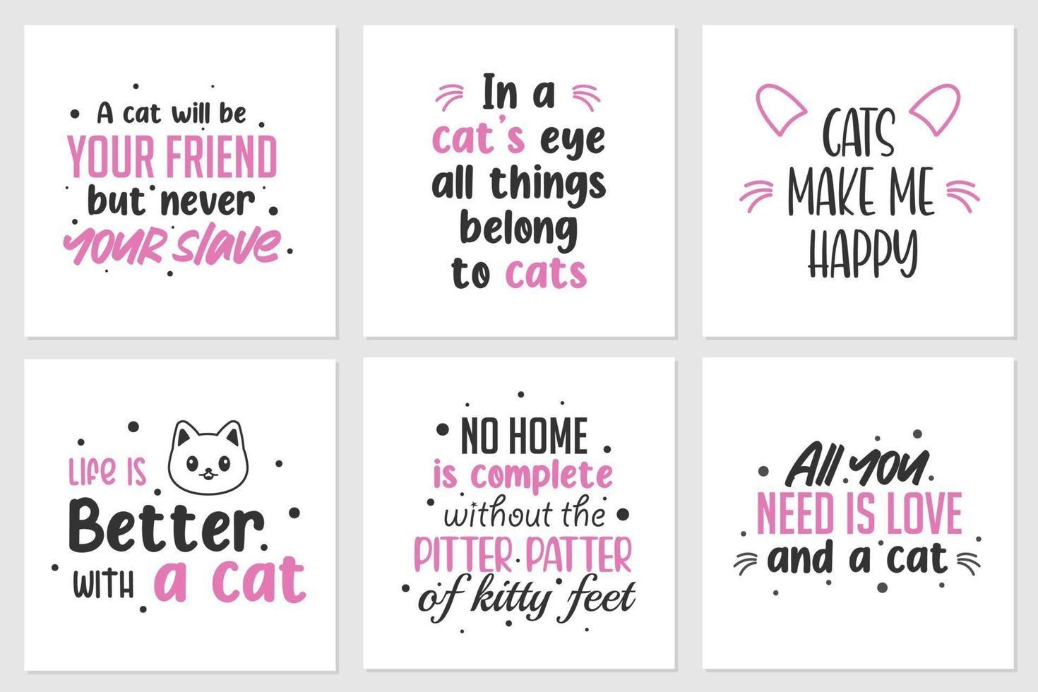 Sammlung von Zitaten über süße Katzen oder Tiere. kann auf T-Shirts, Heimwanddisplays und anderen angewendet werden vektor