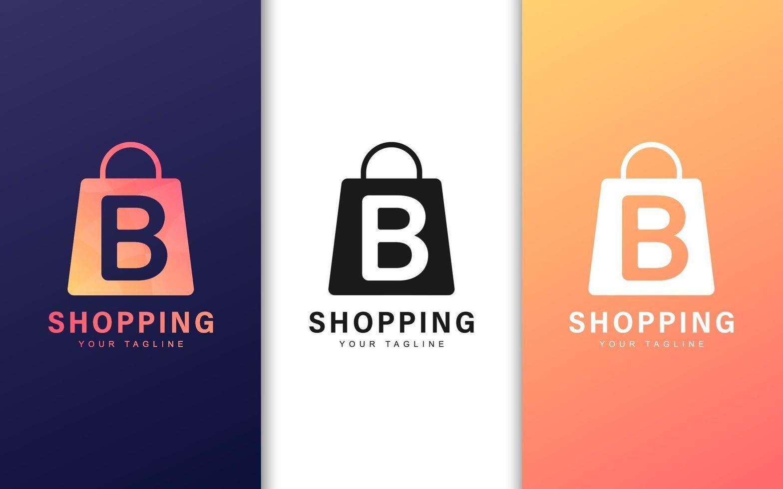Buchstabe b Logo in einer Einkaufstasche mit einem modernen Konzept vektor