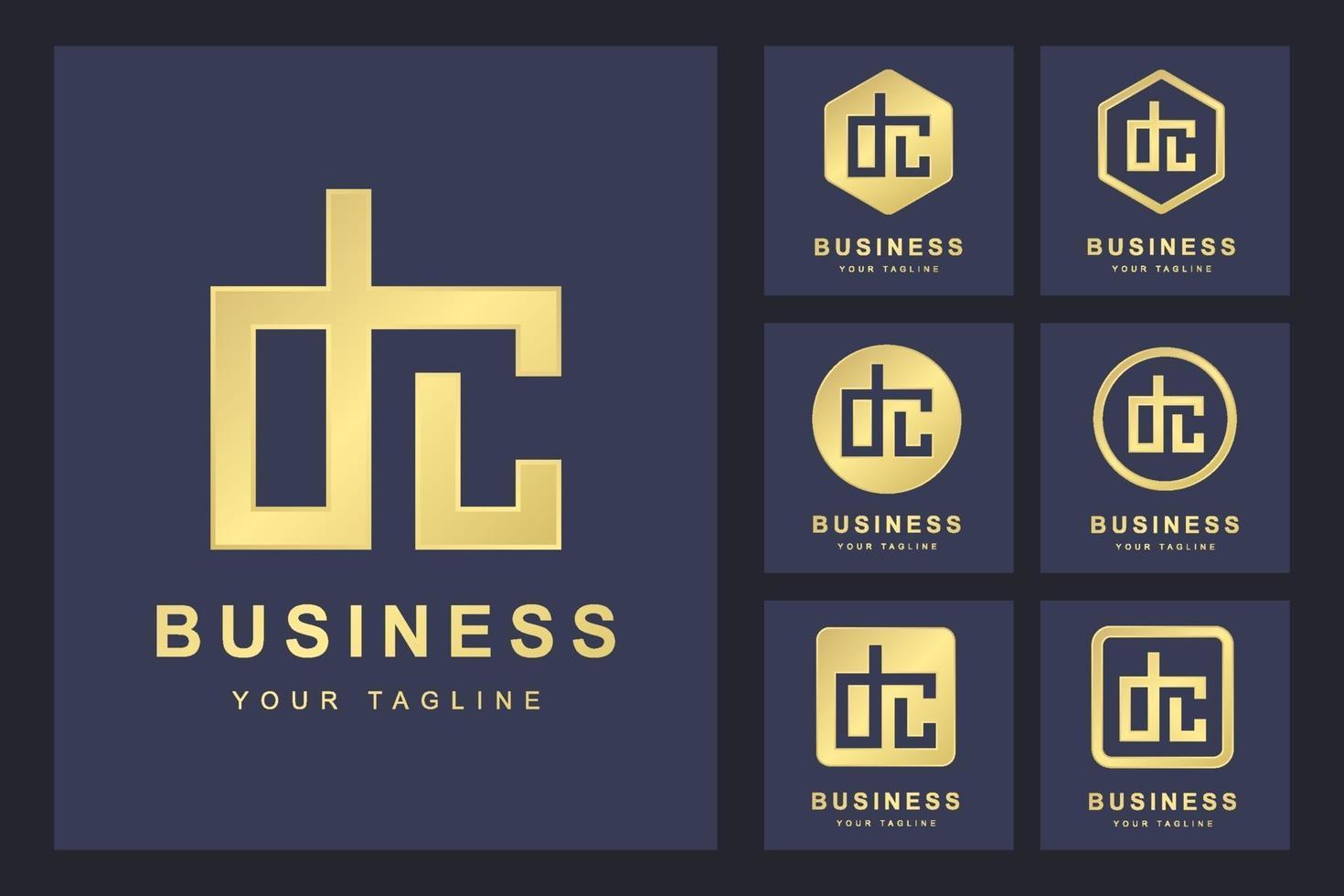 minimalistischer DC-Buchstaben-Logo-Satz vektor