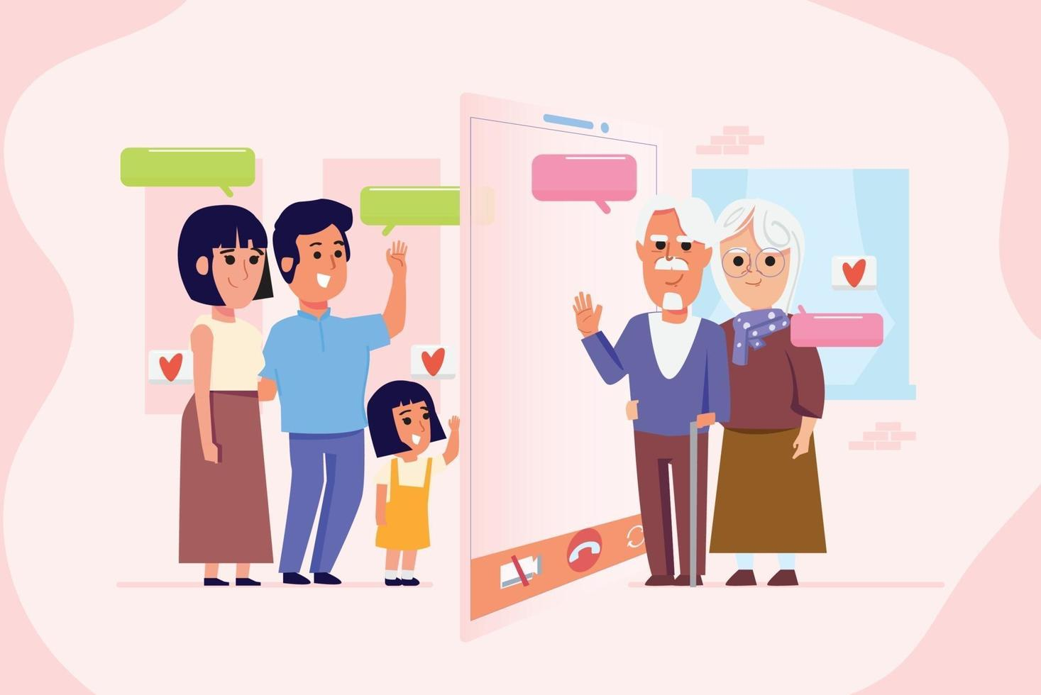 Familie, die zusammen einen Videoanruf macht - Vektor