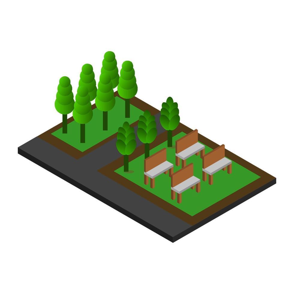 isometrisches Park-Symbol auf Hintergrund vektor