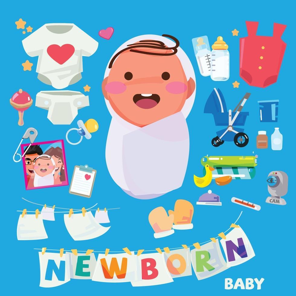 Neugeborene. Baby mit Zubehörset vektor