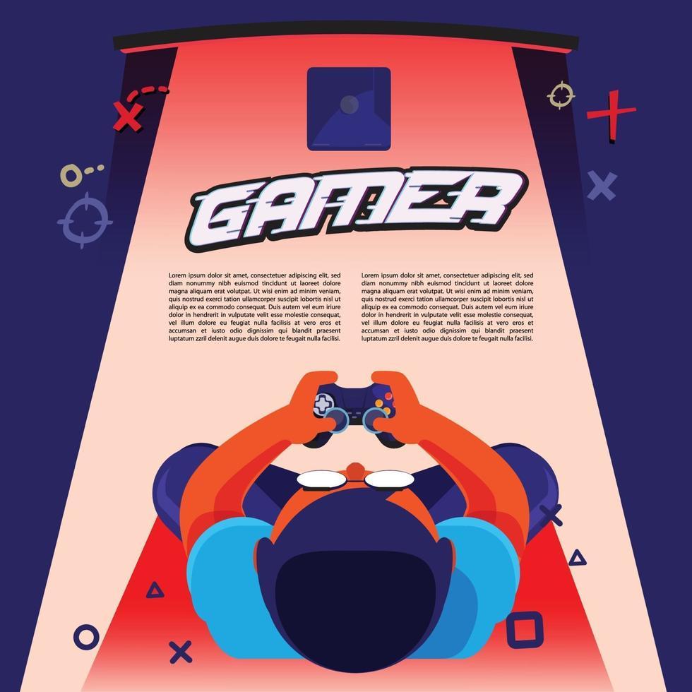 Spielerjunge, der Konsolenspielhintergrund spielt - Vektorillustration vektor