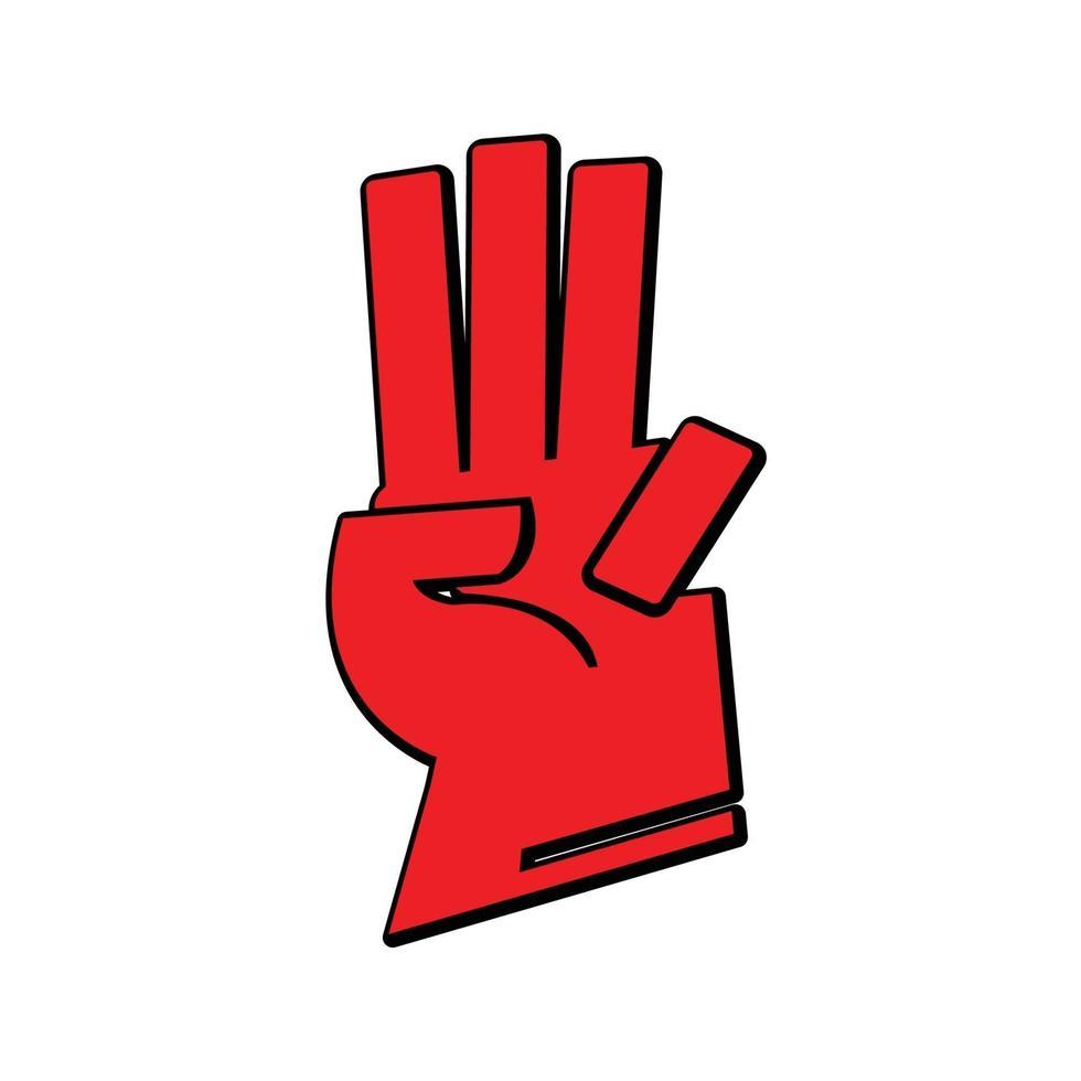 röd trefinger hälsning hand - vektor