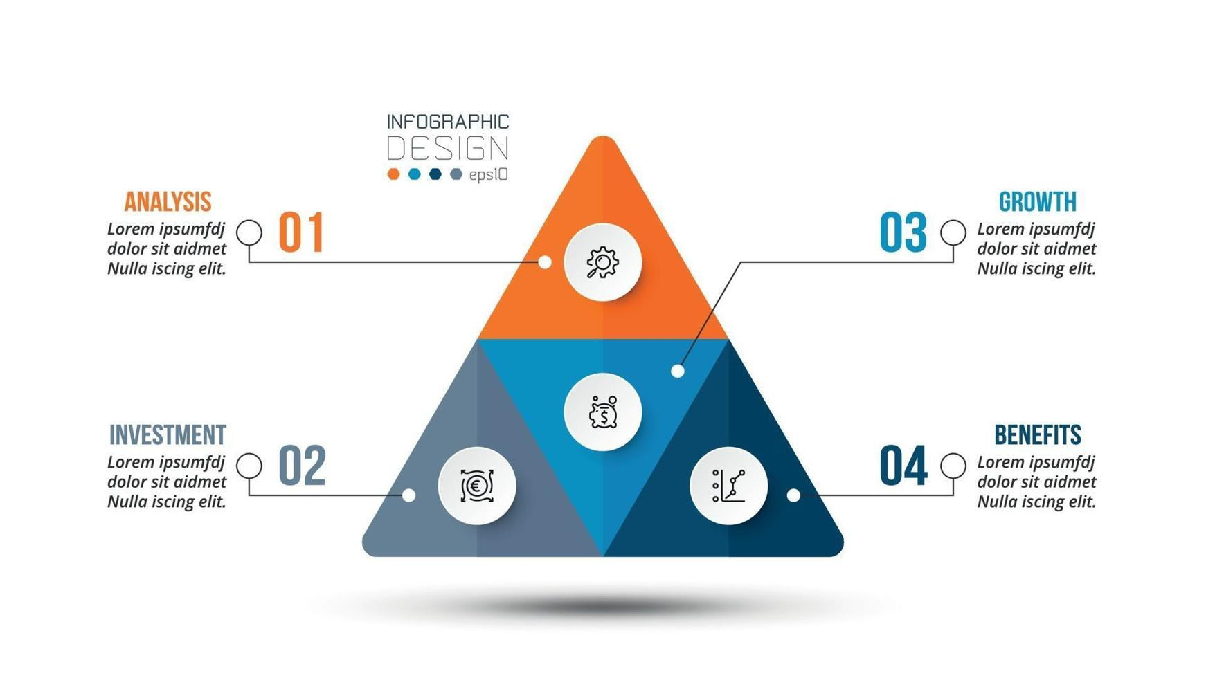 pyramid affärsflöde infographic mall. vektor