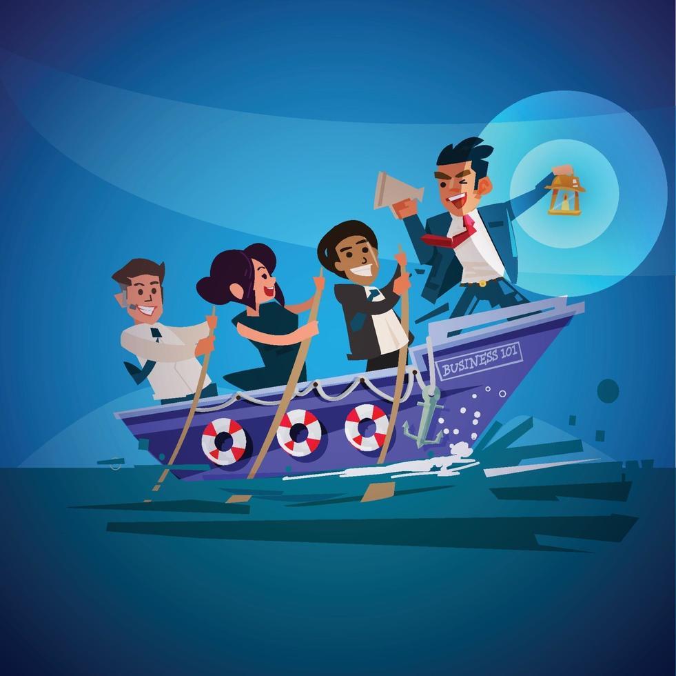 affärsledare som håller lampa på båt med affärslag. bra ledarkoncept vektor