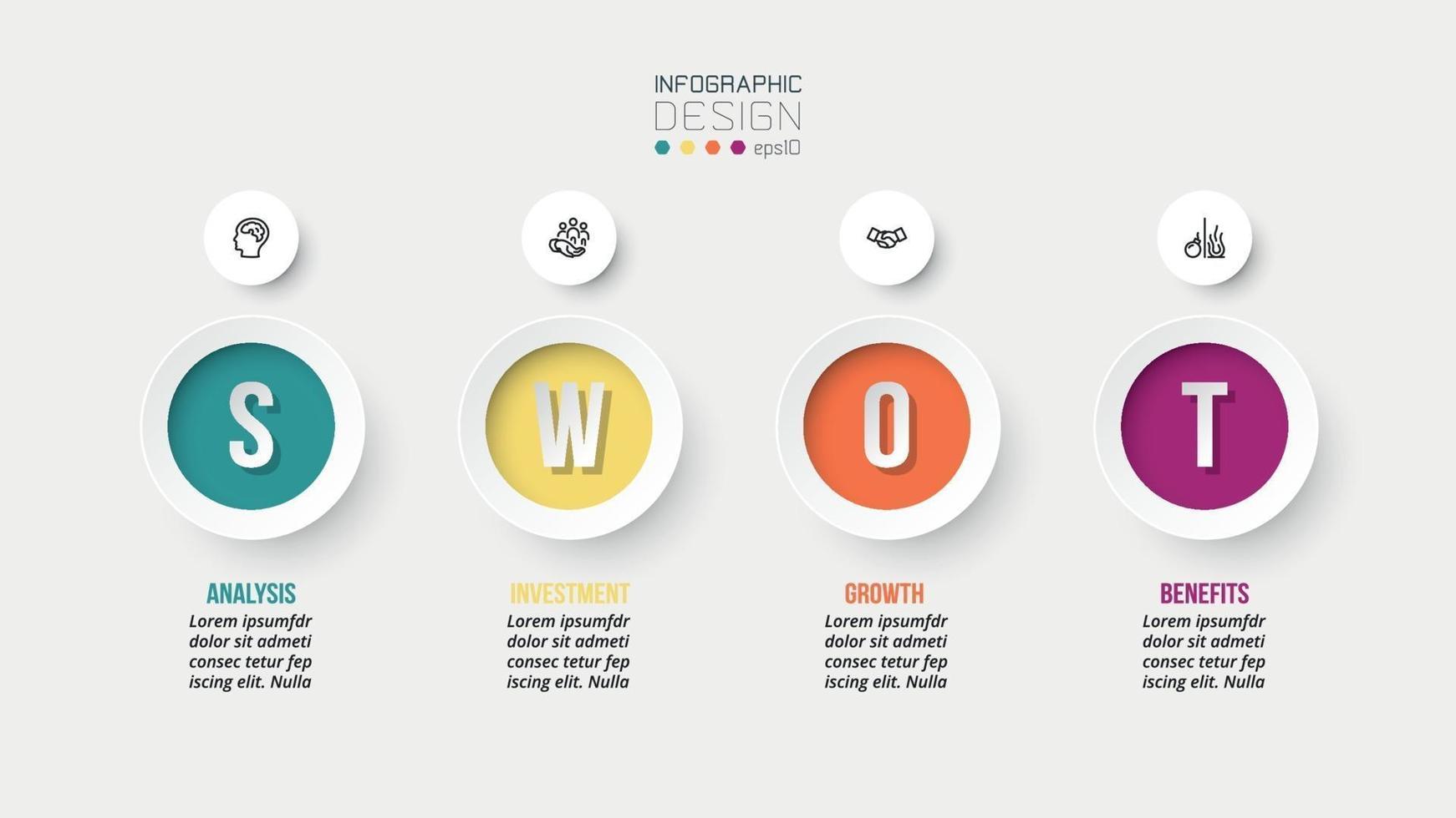 Swot-Analyse-Geschäft oder Marketing-Infografik-Vorlage. vektor