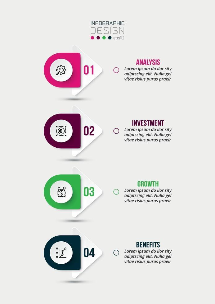 4-Schritt-Prozessablauf-Infografik-Vorlage. vektor