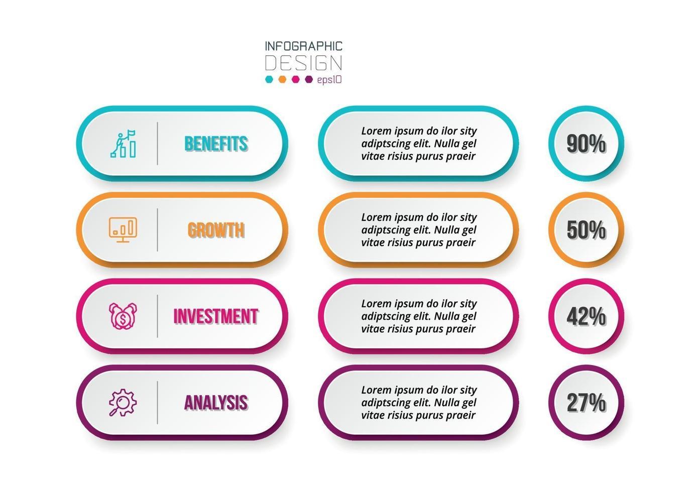 affärsidé infographic mall med alternativprocent. vektor