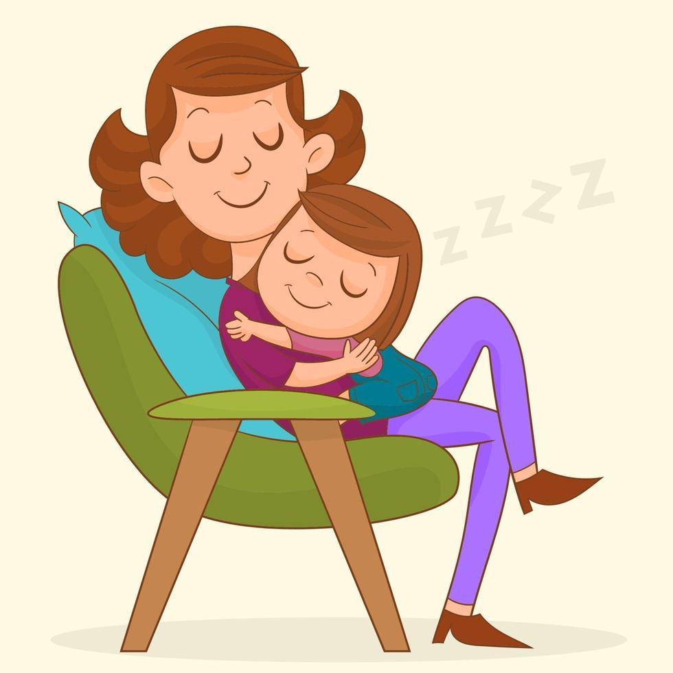 Mutter mit Mädchen, das auf einem Stuhl schläft vektor