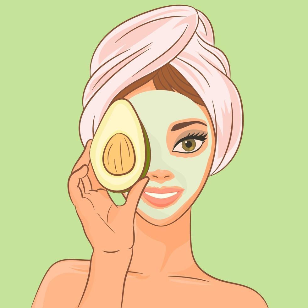en flicka med en kosmetisk mask och avokado vektor