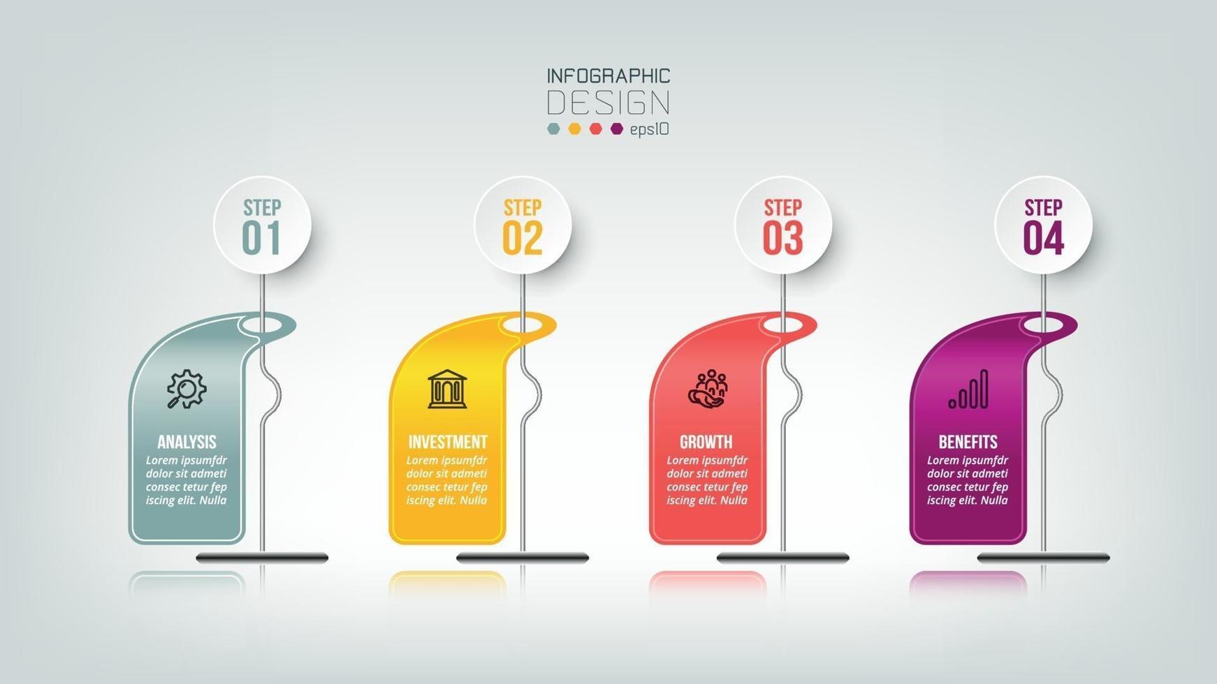 infographic affärsmall med steg eller alternativ design. vektor