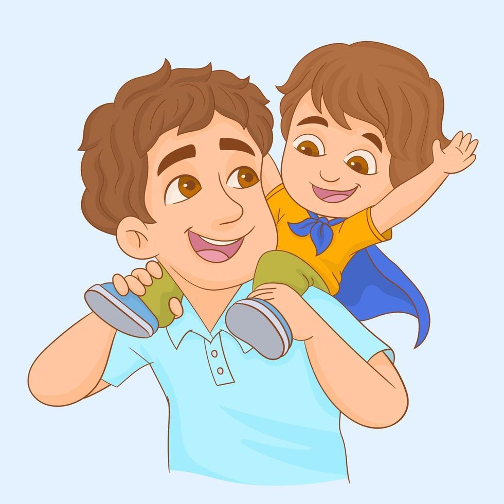 Junge reitet huckepack auf den Schultern seines Vaters vektor