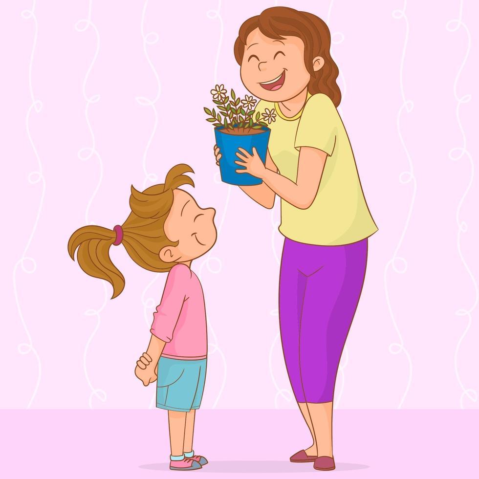 Mutter erhält ein Geschenk von ihrer Tochter vektor