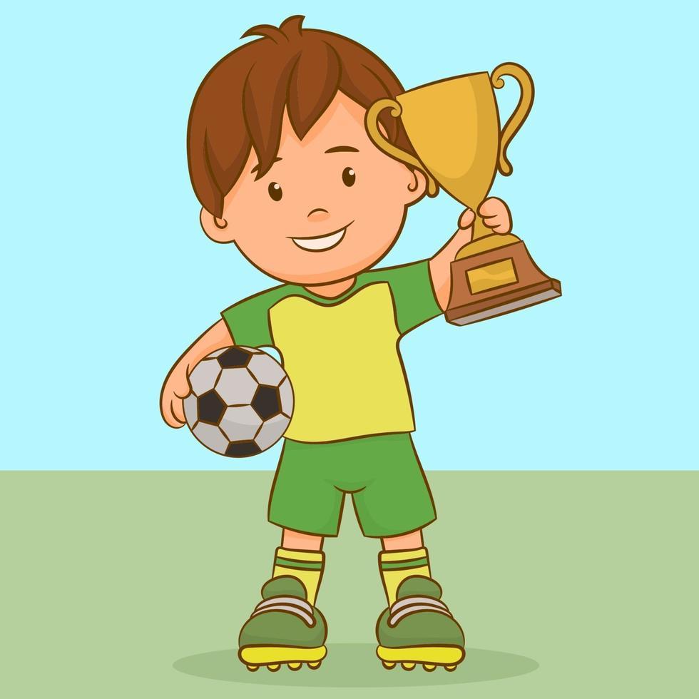 pojke med en fotboll och en vinnarkopp vektor