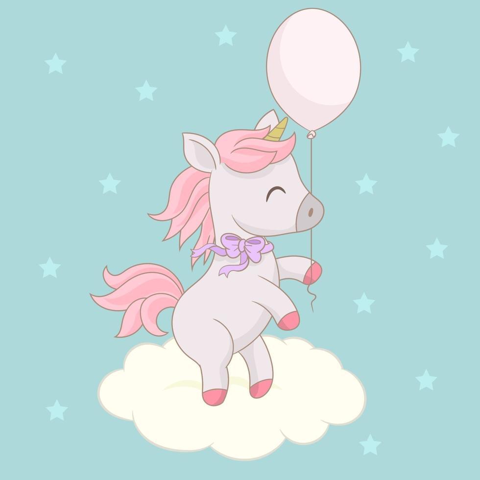 baby enhörning med ballong vektor