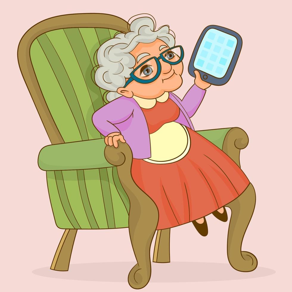 mormor har online-kommunikation med hjälp av surfplatta vektor
