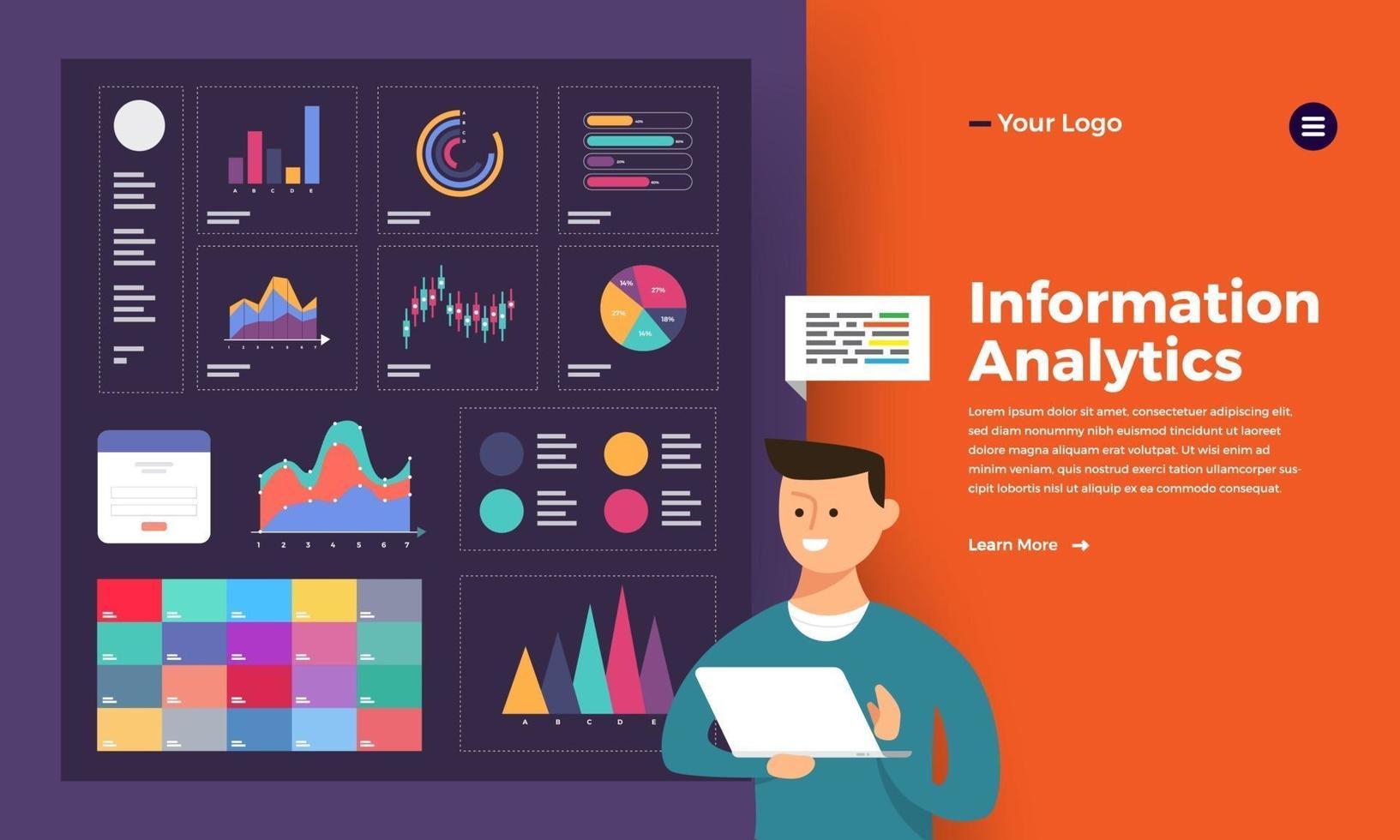 man analyserar data illustration vektor