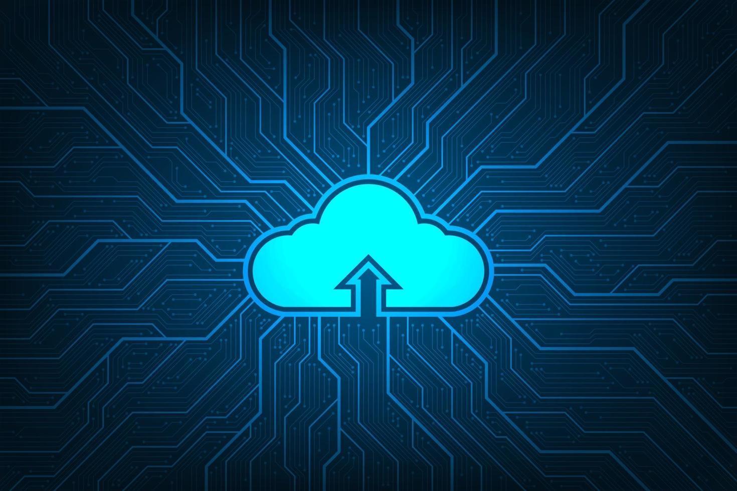 Cloud-Netzwerk, das verschiedene Informationen über digitale Systeme hochlädt. vektor