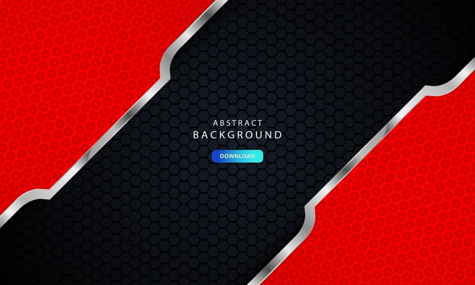 dunkelschwarzer Sechseckhintergrund mit roter und silberner Listendekoration. vektor