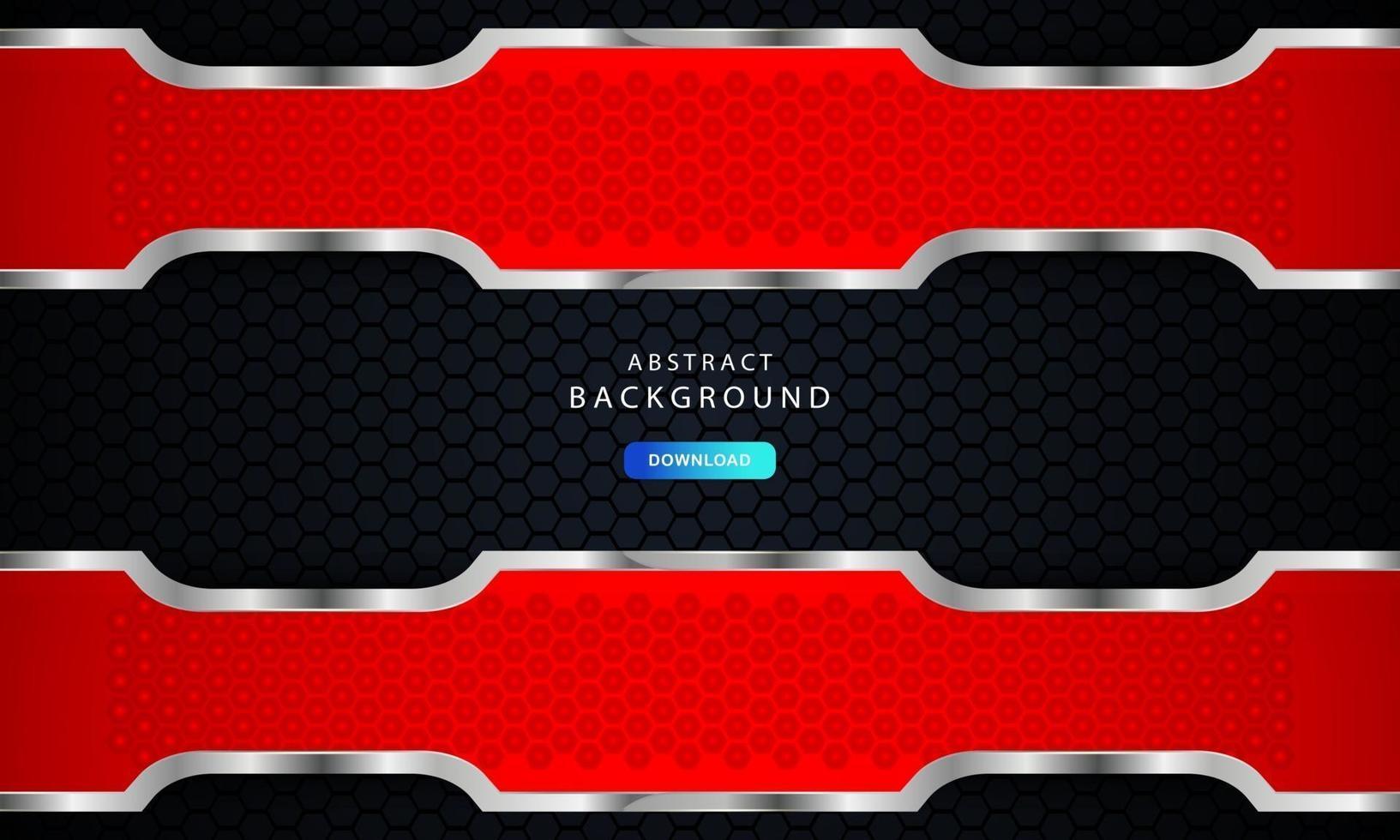 röd sexkantig abstrakt metallbakgrund med silverfärgad effekt. vektor