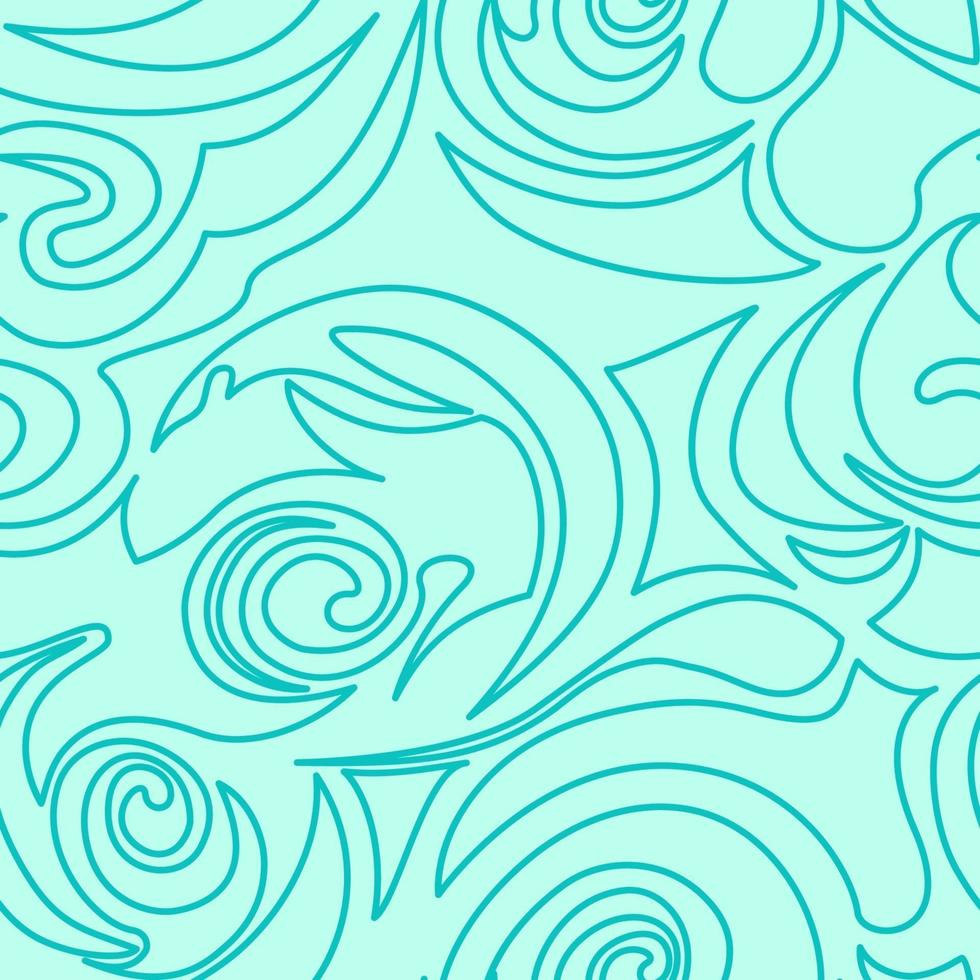 nahtlose türkisfarbene Textur von Spiralen und Locken in einem linearen Stil. vektor