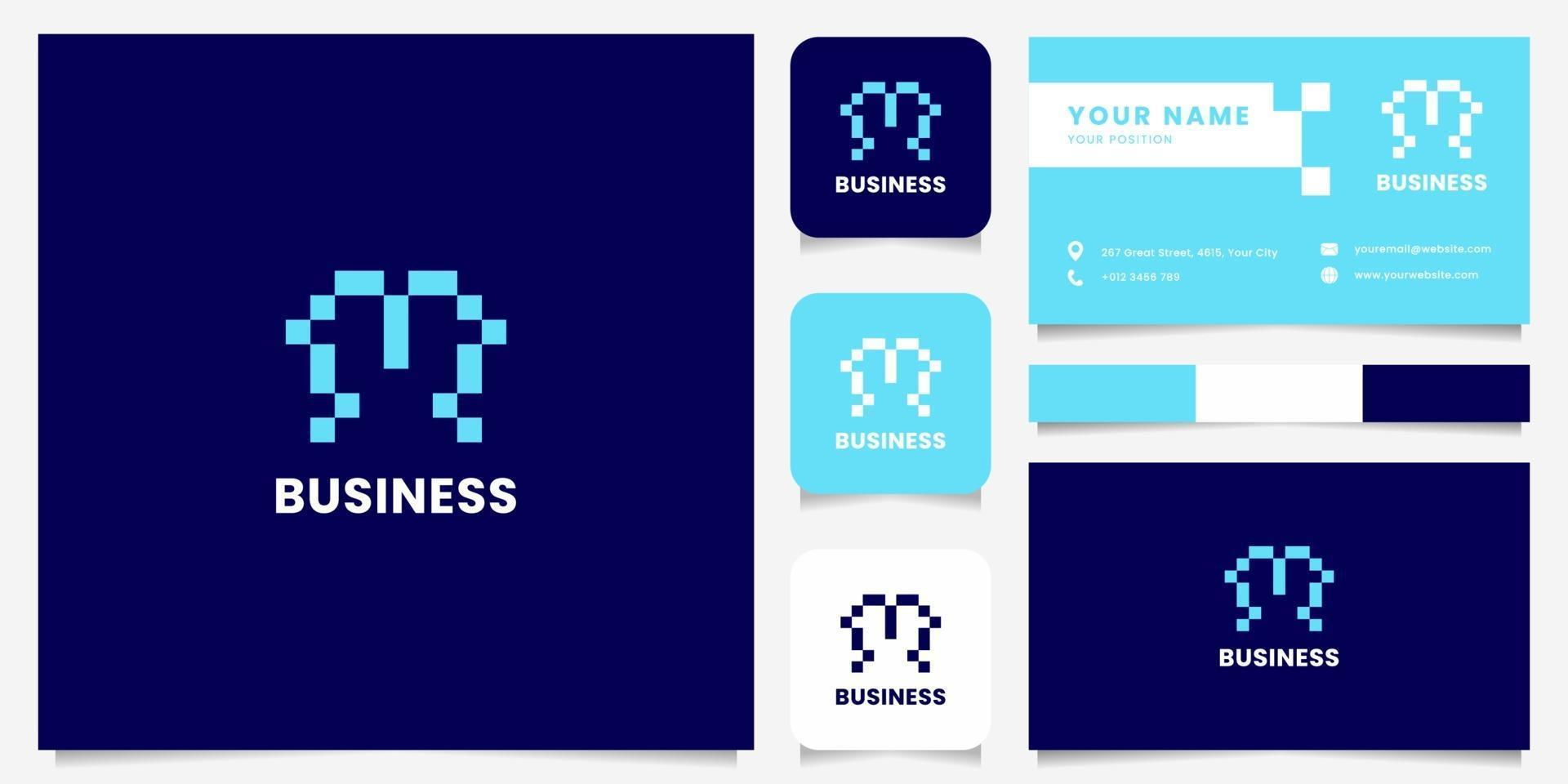 einfaches und minimalistisches blaues Pixelbuchstaben-m-Logo mit Visitenkartenschablone vektor
